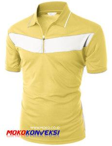 Pembuatan Kaos Polo Shirt Online Warna Kuning Putih