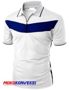 Model Kaos Kerah Polo Shirt Desain Profesional Warna Putih Biru