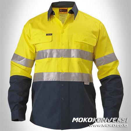 Jual Wearpack Kerja Baju Safety Tambang Lengan Panjang Warna Kuning Biru Navy/Dongker Variasi Scotlight